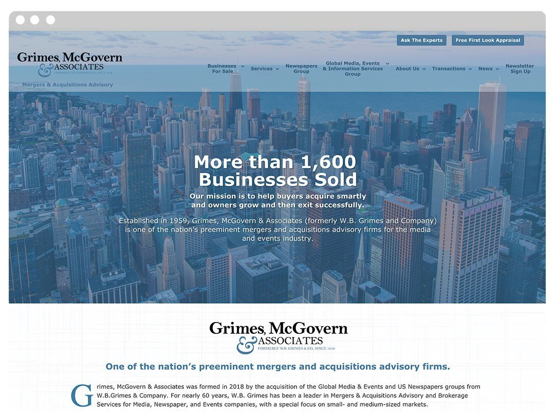 Mergers and Aquisitions WordPress Website